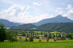 Green alps mountain landscape, daylight travel, Stock Photos