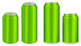 Green aluminium soft drink cans vector Stock Images