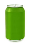 Green aluminum Can. Green Metal Aluminum Beverage Drink Can Royalty Free Stock Photo