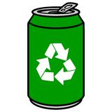Green Aluminum Can with a Recycle Symbol Royalty Free Stock Images