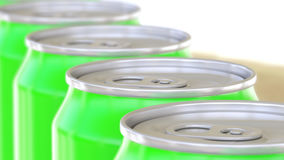 Green aluminum cans conveyor. Soft drinks or beer production line. Recycling packaging. 3D rendering royalty free stock image