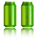 Green aluminum cans with drops, realistic style Royalty Free Stock Photography