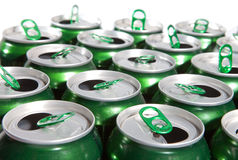 The green Aluminum cans  with keys Stock Photography
