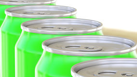 Green aluminum cans moving on conveyor. Soft drinks or beer production line. Recycling packaging. 3D rendering Royalty Free Stock Photos