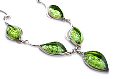 Green amber necklace isolated Stock Photo