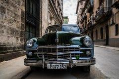 Green american classic car in Cuba Havana Royalty Free Stock Image
