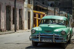 Green american classic car in the province Villa Clara Royalty Free Stock Photos