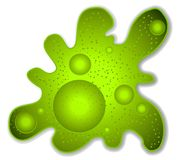 Green Amoeba Microbe Clip Art. A clip art illustration of a big ugly amoeba or other kind of microbial being in green colors stock illustration