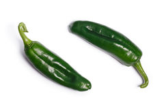Green Anaheim chilies, top view, paths Stock Photo