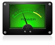 Green Analog Meter. With scale and power written on it stock illustration