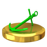 Green anchor on gold podium Stock Photos