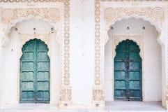Green ancient front door Stock Photos