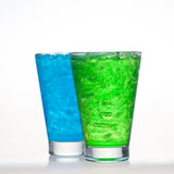 Green And Blueberry Fruit Flavour Soft Drinks Stock Photo