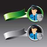 Green And Gray Ribbons With Police Officer Royalty Free Stock Photos