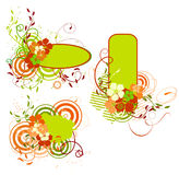 Green And Orange Banner With Flowers Stock Image