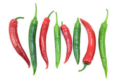 Green And Red Chili Peppers Royalty Free Stock Photos