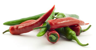 Green And Red Chili Peppers Stock Image