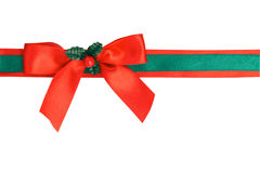 Green And Red Ribbon With Bow Stock Photo
