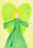 Green angel abstract watercolor painting. On artist paper Stock Image