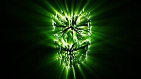 Green angry monster shabby head animation. Scary monster face. Genre of horror stock footage