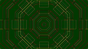 Green animated patterned background. With kaleidoscope effect computer rendering stock footage