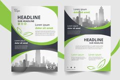 Green annual report brochure flyer design template. set stock illustration