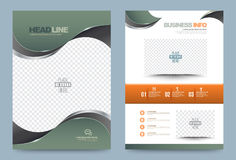 Green Annual report brochure flyer design template. Vector curve style, Leaflet cover presentation abstract technology background, layout in A4 size. Vector Royalty Free Stock Images
