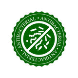 Green Antibacterial Icon, Badge or Label Isolated on White Background Royalty Free Stock Photo