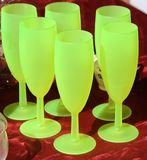Green antique vintage glasses for sale in the antique shop Royalty Free Stock Images