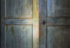 Green antique wooden door Royalty Free Stock Photo