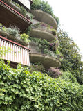 Green Apartment block balconies in Rome Royalty Free Stock Image