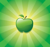 Green apple. Illustration of ripe apple on green sunburst background Stock Photo