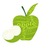 Green apple. Organic fruits concept was created with typographic design Royalty Free Stock Images
