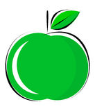 Green apple. Illustrations of green apple on white background Royalty Free Stock Image