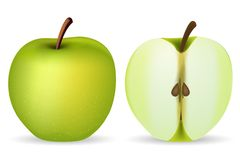 Green Apple. Illustration of green apple on isolated background Royalty Free Stock Images