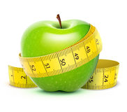 Green apple. Vector illustration of Green apple with yellow measuring tape Stock Images