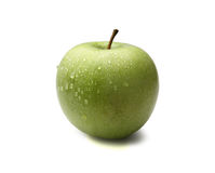 Fresh Green Apple Drops royalty free stock photography