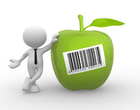Green apple. 3d people - man, person with an green apple and barcode Stock Image