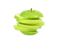 Green apple. The green apple is covered by water drops Stock Photo