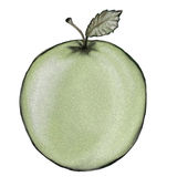 Green Apple. Illustration of green apple on white background with sponge texture Stock Images