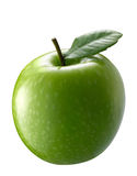 Green apple. With single leaf Stock Photos