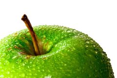 Green Apple. With multiple water droplets. Freshly washed. Landscape format Stock Photography