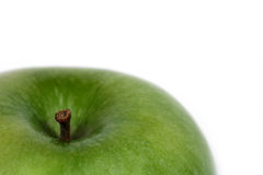 Green apple. Close up of green apple over white Royalty Free Stock Photos