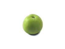 Green apple. Isolated over white, deliciously and nourishing Stock Image