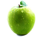 Green apple. With sheet the isolated royalty free stock photos