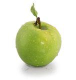 Green Apple. Green fresh Apple  with  leaf on white background Royalty Free Stock Photos