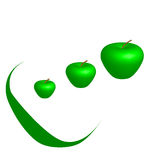 3 Green Apple. Abstract Green Apple, 3D illustration, white background Stock Photos