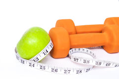 Free Green Apple And A Dumbbell Stock Image - 46708001