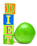 Green Apple And Cubes With Letters - Diet Stock Image