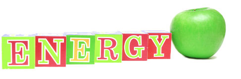 Green Apple And Cubes With Letters - Energy Stock Images